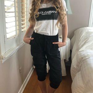 4 LEFT XS-L Chic STRETCHY Black Capri Jogger Pants